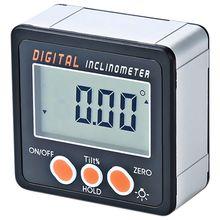 Цифровой Инклинометр, угол 0-360, треугольная линейка, электронный транспортир, корпус из алюминиевого сплава, измеритель углов, магниты