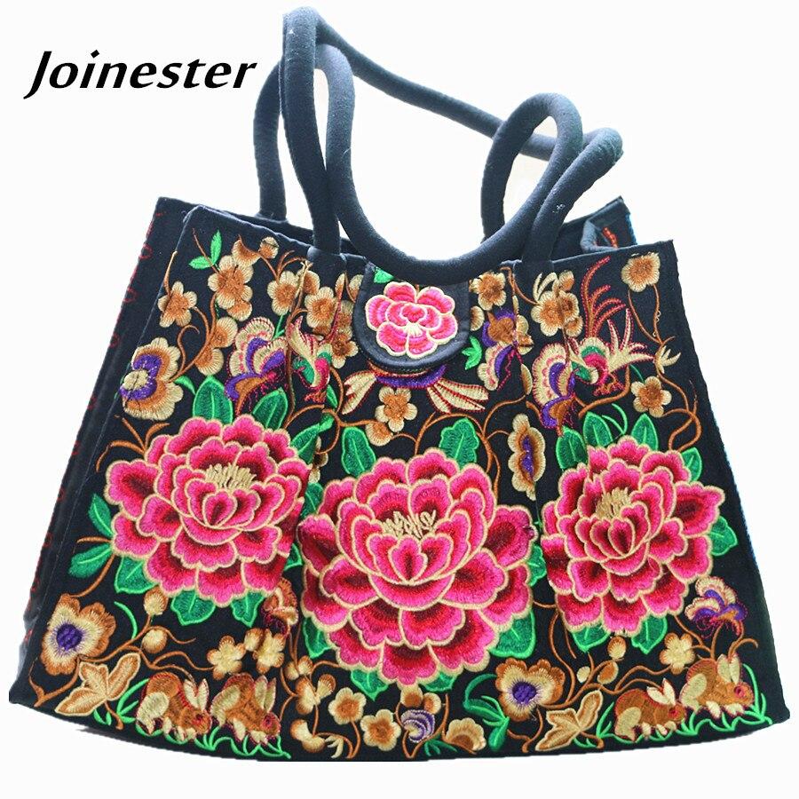 Floral Embroidered Ladies Handbags Vintage Canvas Tote Bags for Women Ethnic Shoulder Bag Woman Large Travel Bag Shopping Bag Сумка