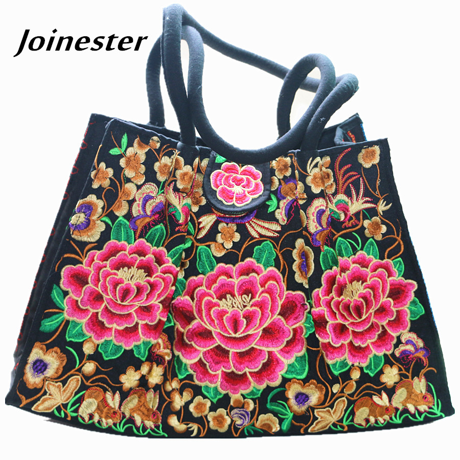 Yunnan Ethnic Floral Embroidered Ladies Handbags Vintage Canvas Tote Bags for Women Hilltribe Shoulder Bag Women Shopping Bag поводки triol поводок рулетка standard soft red m 5м до 25кг