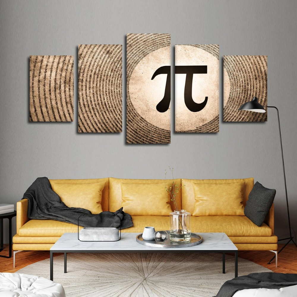 Modular Canvas Pictures Framework 5 Pieces Circumference Ratio Pi Painting Wall Art HD Prints Numerical Symbol Poster Home Decor