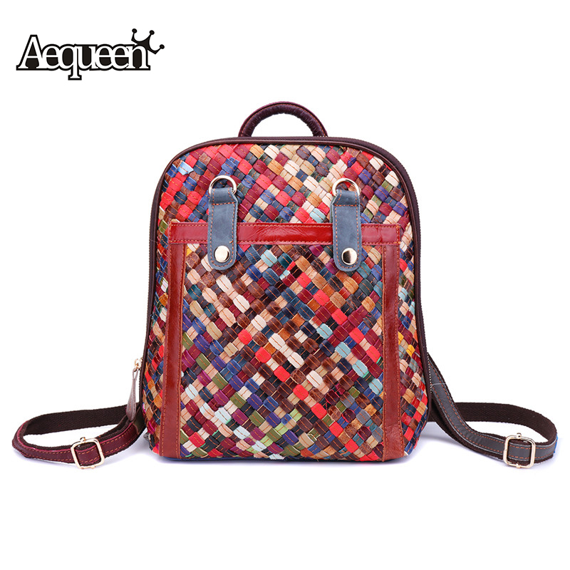 AEQUEEN Weaving Genuine Leather Backpacks Women Back Pack Schoolbags Colorful Rucksack Knitting Shoulder Bag Female Mochilas