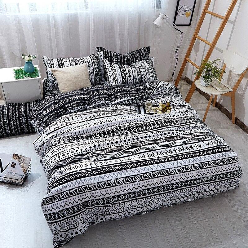 Black and white stripes soft bedding sets Duvetcover Setwinter Flat bedsheet Pillowcase Queen king Bedlinen Bedclothes sj119