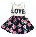 new style Children girls casual shirt Love Tank top + flower skirt clothes set summer clothing set printed Baby clothes suit
