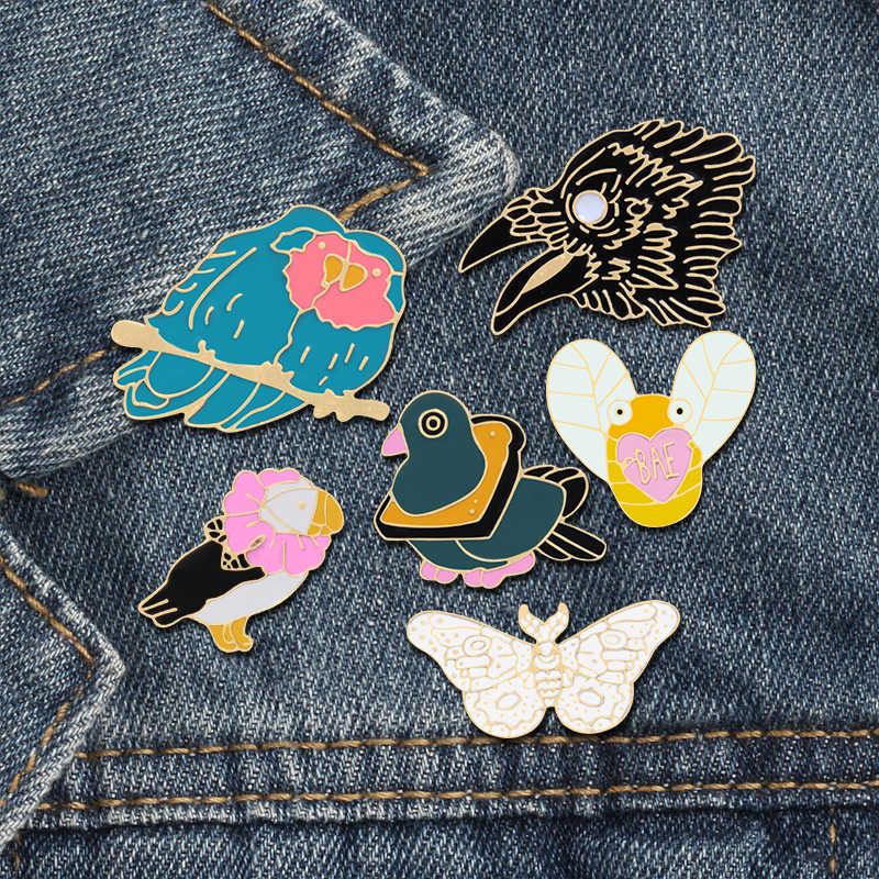 6 Gaya Hewan Bros Burung Bee Butterfly Eagle Enamel Pria Denim Jaket Kerah Pin Pakaian Wanita Kerah Lencana Kreatif hadiah
