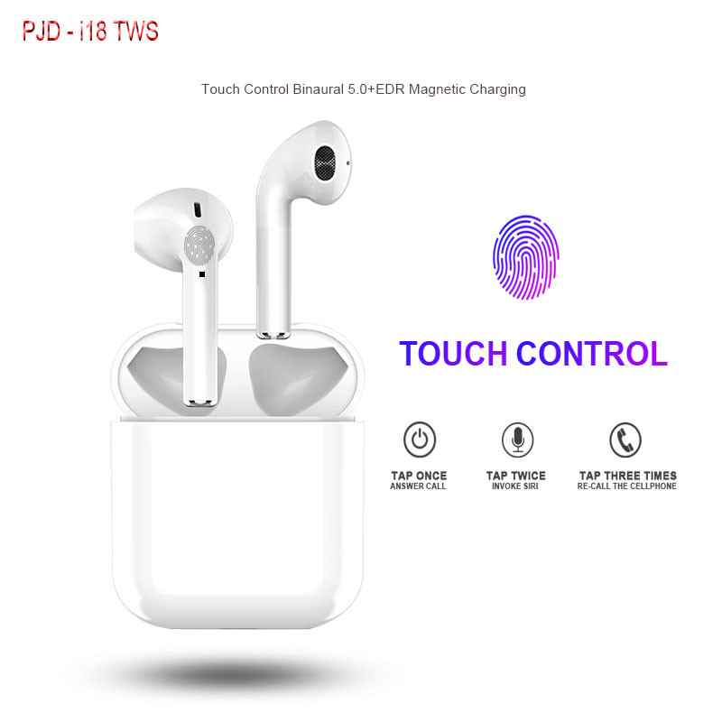 <font><b>i18</b></font> <font><b>TWS</b></font> Touch Control Earbuds Mini Wireless Bluetooth <font><b>Earphones</b></font> V5.0 True Stereo Headsets with Mic for iphone xiaomi PK i60 i30 image