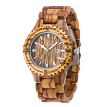 Free Shipping Mens Wooden Watches Top Brand Luxury Watch 2016 Newest Japan Movement Zebra Wood Men