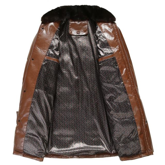 Long Men's Faux Leather Down Jacket