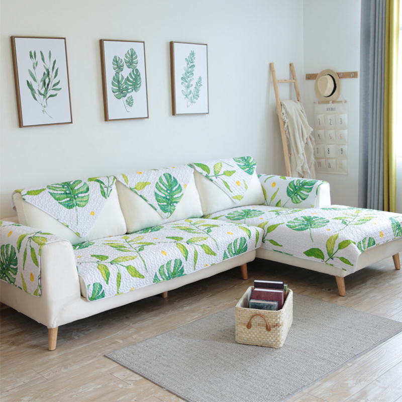 Pleasant Us 12 98 40 Off Tuedio 100 Cotton Modern Magic Sofa Cover Green Leaves Couch Cover Slip Resistant Sofa Cover Towel Sofa Mats Home Decor 1Pcs In Theyellowbook Wood Chair Design Ideas Theyellowbookinfo