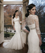 цена на 2014 Three Quarter Sleeve Lace Wedding Dresses Mermaid Trumpet Sweetheart Beads Applique Bridal Gowns yk8R972