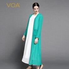 VOA 2017 New pective Cutout Kimono Cardigan long Sleeve Chiffon Blouse female Casual Summer Top Loose shirt A7058