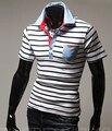 2016 Лето мужская повседневная мода полосы рубашки поло цвет дизайн мужская диких личности Slim с коротким рукавом рубашка