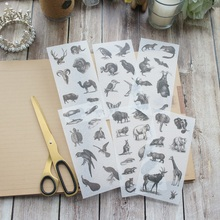 6 sheets Hand-painted Ancient Biology washi Paper sticker as Scrapbooking DIY gift packing Label Decoration Tag party