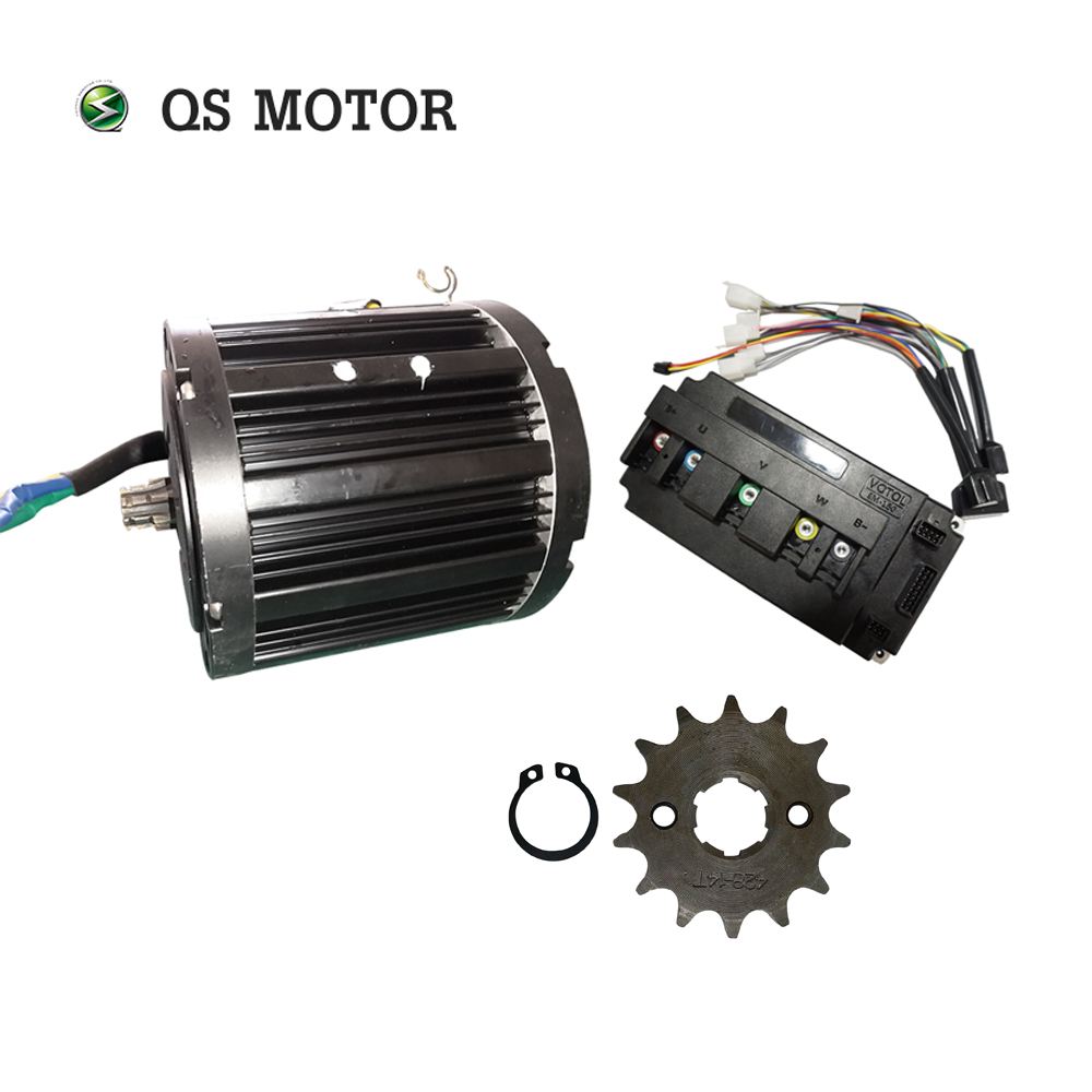 QS MOTOR 138 3000W Mid Drive Motor With Sprocket 428 And Votol EM150SP Controller For Electric Motorbike Z6 100KPH 72V