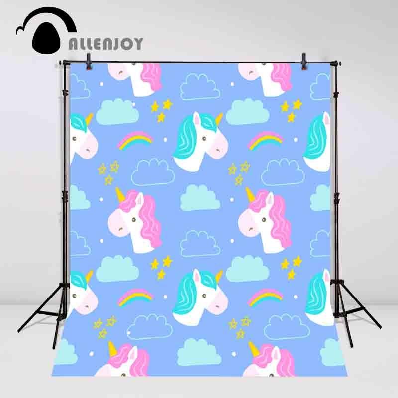 Allenjoy photo background Unicorn backdrop cloud stars blue children backdrop fond photo backdrop backgrounds for photo studio