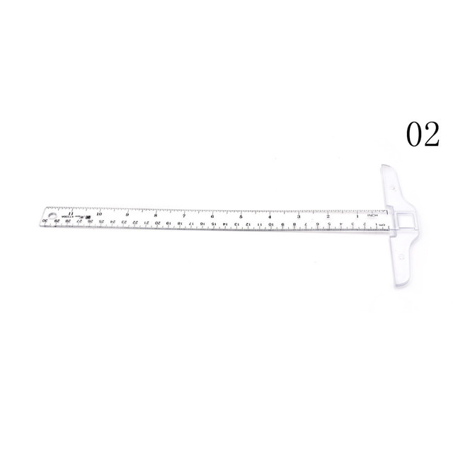 2Styles Plastic T Shape Ruler 30cm Straight Ruler Measure Tool Clear Transparent Measurements