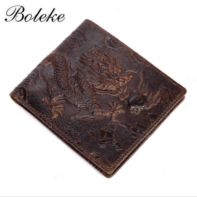 Brand Men Genuine Leather Wallet Purse Vintage Short Bifold Card Holder Dragon Printed Oil Waxing Leather Wallet for Man 9015