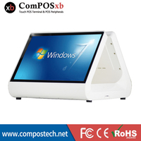 Free Shipping cash register 12 inch cheap pos system double screen all in one computer NEW capacitive touch screen