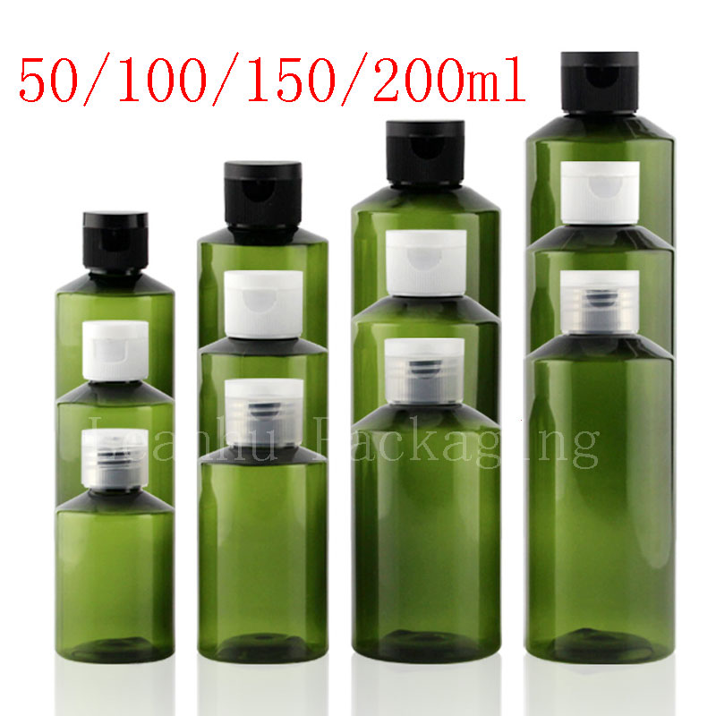 Green Empty Cosmetic Bottles Screw Caps, Refillable Liquid Plastic Container For Shampoo Lotion Flower Water Travel Size