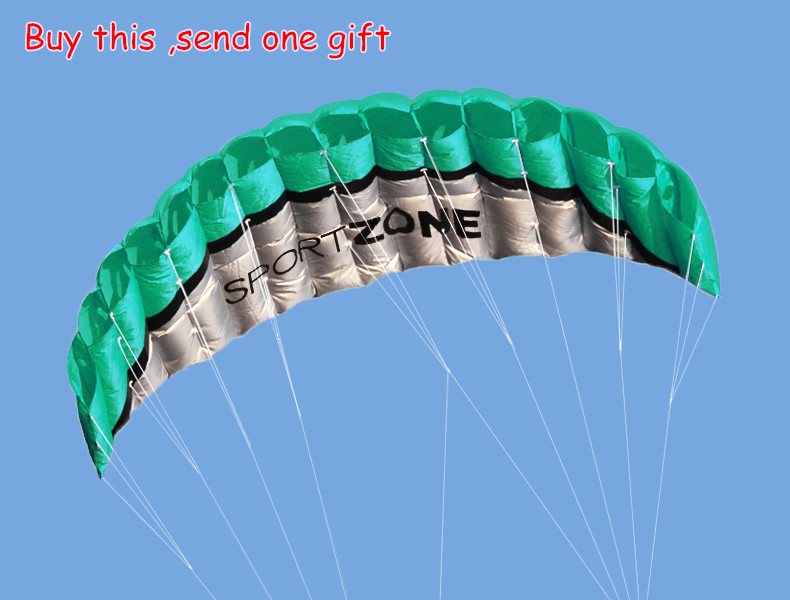New  High Quality  2.5m Green Dual Line Parafoil Kite  WithFlying ToolsPower Braid Sailing Kitesurf Rainbow Sports Beach