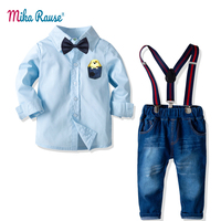 New 2PCS Kids boys clothes boy clothing sets children 2 7Year toddler boy baby clothes long sleeve cotton shirt+blue jeans pants