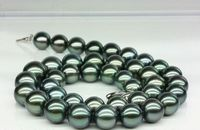 925 silver real natural big Huge 1811 12mm real genuine black peacock green round pearl necklace AA+ (09.08) les nereides