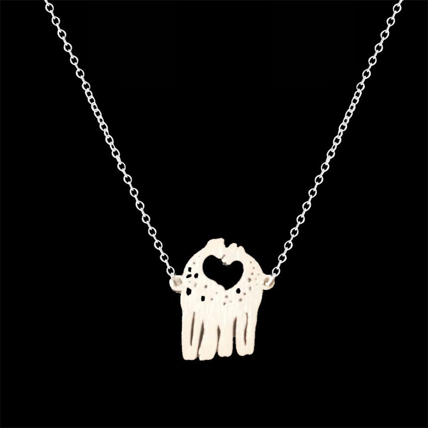 GORGEOUS TALE Gold Silver Chain Collier Femme Loving Giraffes Statement Necklace Stainless Steel Collares De Moda 2017