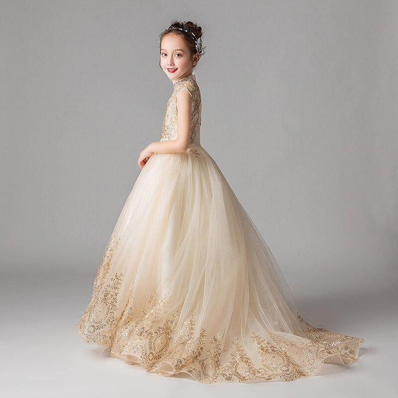 Fille Boutique robe de demoiselle d'honneur robes enfants tenue de fête de mariage robes adolescents demoiselle d'honneur robes de bal perles broderie Drese - 5
