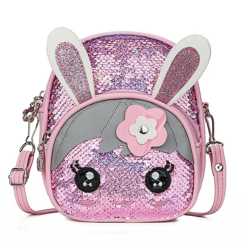 Cute Baby Girl Backpack Cartoon Rabbit Fashion Sequin Applique Mini School Bag Portable Shoulder Bag