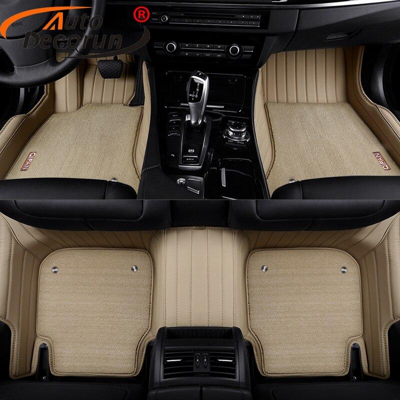 AutoDecorun tapis de sol en cuir PVC sur mesure pour BMW 1 2 3 4 5 6 7X1X3X4X5X6 Z4 série de tapis de voiture accessoires