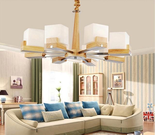 effen log woonkamer eetkamer massief houten plafond warme natuurlijke slaapkamer e27 8 lamphouders ster kroonluchter lampen