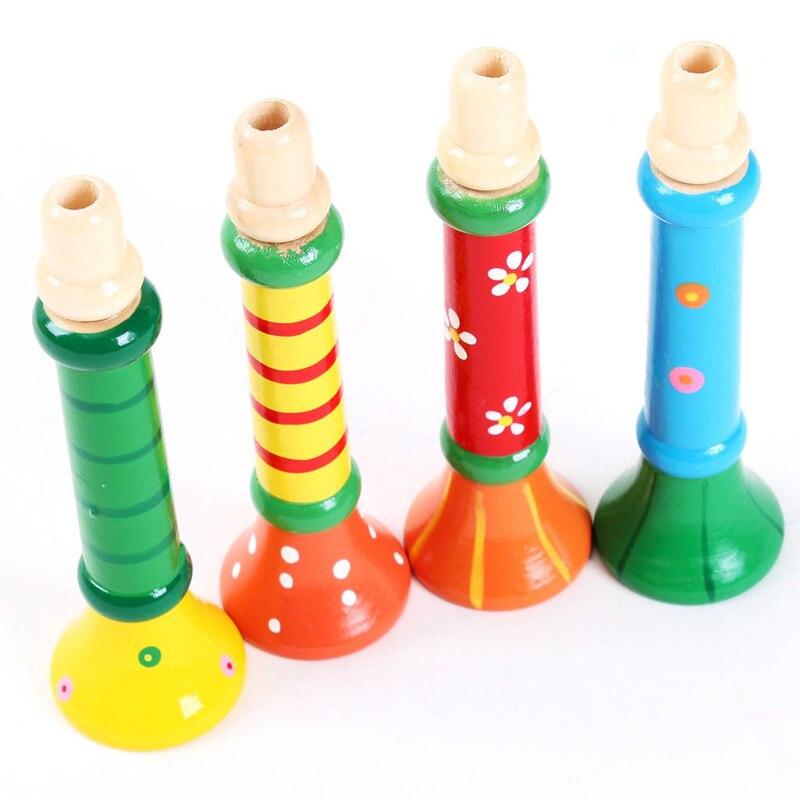 Kreative Bunte Holz Trompete Kinder Frühe Pädagogische Musik Spielzeug Kinder Horn Hupe Trompete Lustige Pfeife Lernen Horn