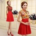 2016 new short cheongsam wedding dress Chinese dress costume sisters qipao dress  qi pao