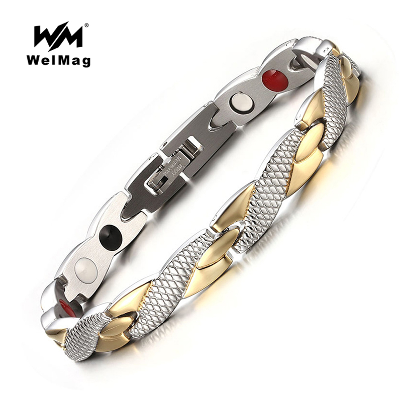 WelMag lovers' Fashion Health Magnetic Bracelet Bangles FIR Energy Bio Wristband High Power Therapy Stainless Steel Jewelry barcur 2018 aluminum magnesium men s sunglasses polarized men coating mirror glasses oculos male eyewear accessories for men