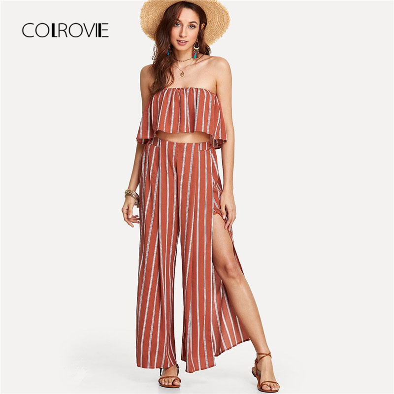 COLROVIE Striped Tube Top With Split Pants Suit 2018 Summer Off the Shoulder Striped Women Sets Strapless Casual Two Piece Set