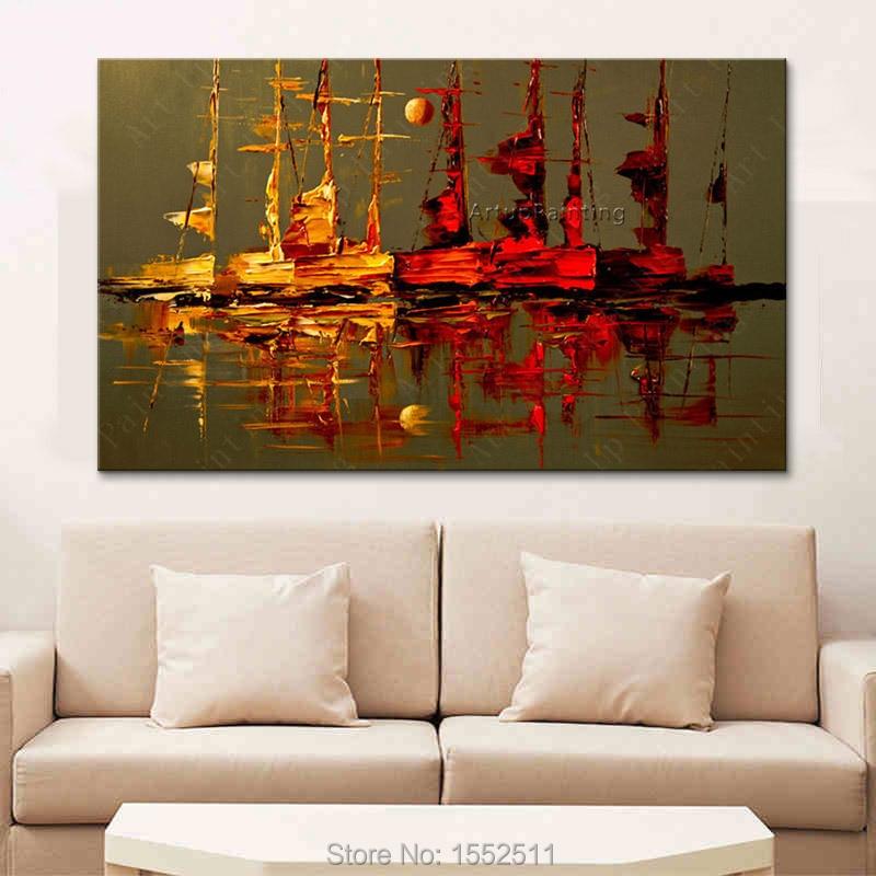 Audekla eļļas glezna caudros decoracion Akrila laiva buru abstrakts - Mājas dekors