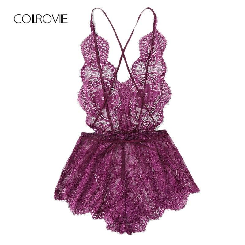 COLROVIE Crisscross Open Back Eyelash Lace Teddy Summer New Purple Lace Criss Cross Sexy Nightwear Woman Solid Sleepwear