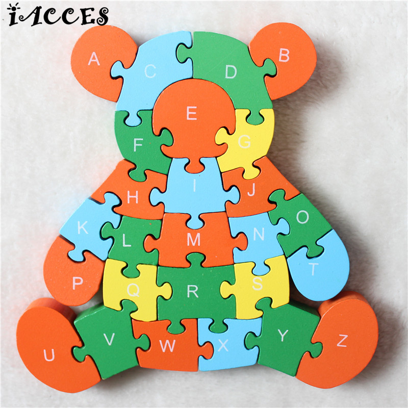 Wooden 3D Puzzle Jigsaw Toys Brain Game For Children Cartoon Animal Bear Puzzle Intelligence Educational toys kids Chrismas Gift children s early childhood educational toys the bear change clothes play toys creative wooden jigsaw puzzle girls toys