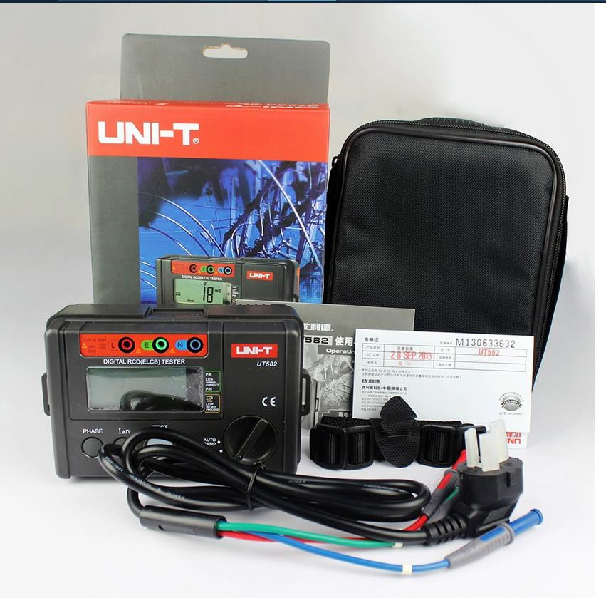 UNI-T UT582 Digital Multimeter RCD ELCB Tester AUTO RAMP Leakage Circuit Breaker Meter uni t ut151e digital multimeter atv 250cc laptops digital multimeter