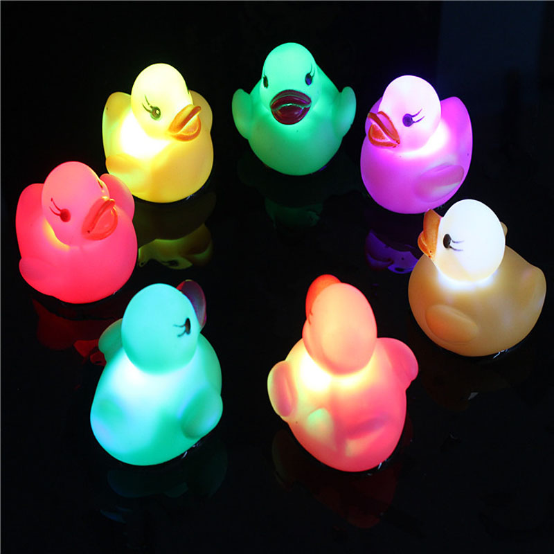 US $0.89 29% OFF|1pc Water Induction Rubber Ducks Babies Toys for Children  Baby Bathroom Boys Girls Swimming Pool Light Up Toy Summer Beach Play-in ...