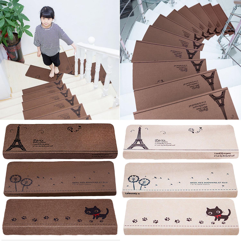 NC 13pcs Anti Slip Self Adhesive Coffee Beige Indoor Safety Stair Step Treads Floor Mats Carpet