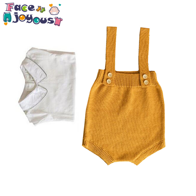 725c077cdc639 US $5.99 41% OFF|Baby Girls Jumpsuit Clothes Toddler Newborn Baby Boys  Rompers Knitted Baby Overalls Button Rompers Princess Kids Clothes  Rompers-in ...