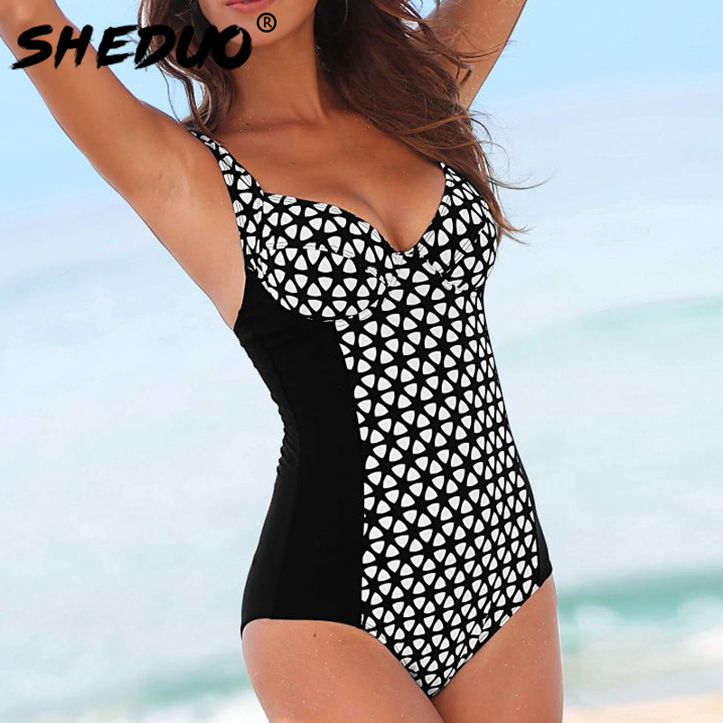 где купить One Piece Swimsuit 2018 New Plus Size Swimwear Women Print Plaid Swimwear Vintage Retro Bathing Suits Monokini Beach Wear по лучшей цене