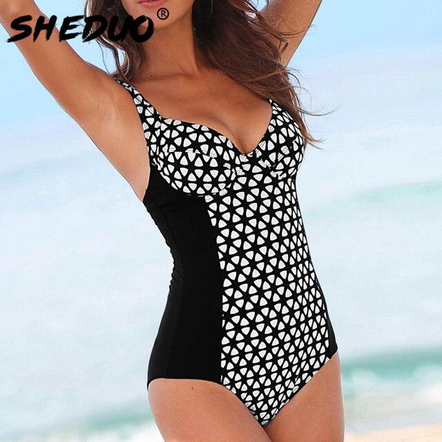 3a4c860823 One Piece Swimsuit 2018 New Plus Size Swimwear Women Print Plaid Swimwear  Vintage Retro Bathing Suits Monokini Beach Wear