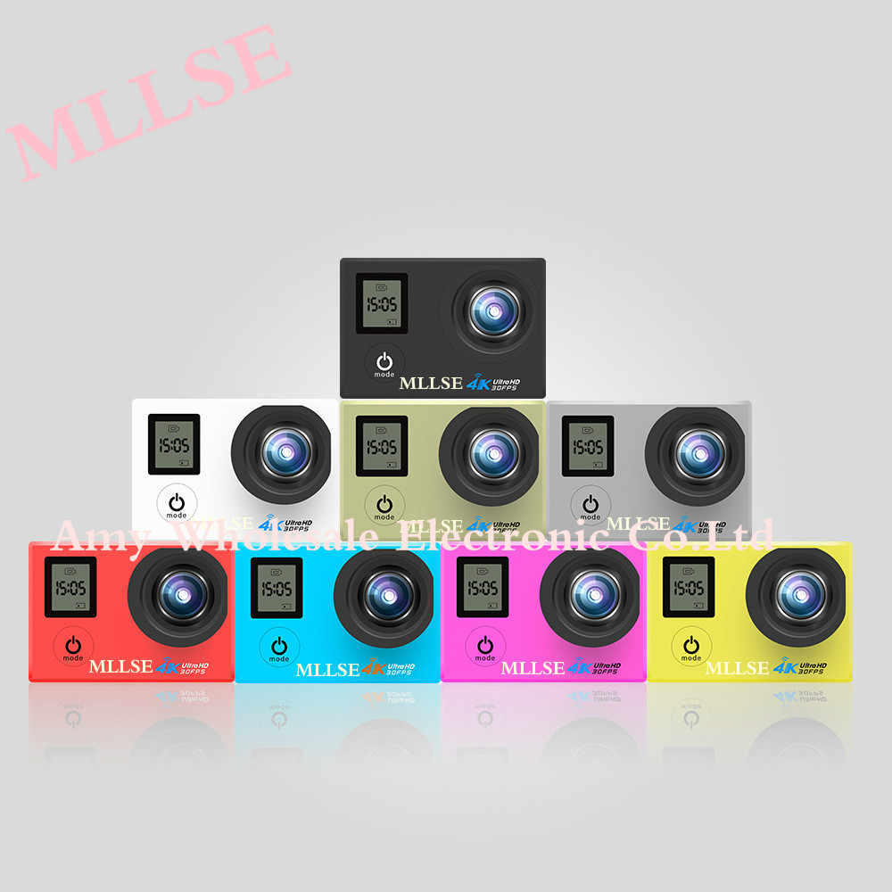 100% オリジナル MLLSE デュアルスクリーンスポーツアクションビデオカメラ 4 k wifi ウルトラ Hd 1080 p 30fps 170D 防水カムスポーツカメラ