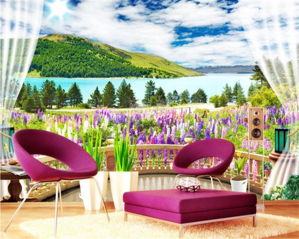 US $8 85 OFF Beibehang Wallpaper Anti Air Di Luar Ruangan Pemandangan Bunga Lavender Pemandangan Laut Latar Belakang Dinding Mural Papel De Parede