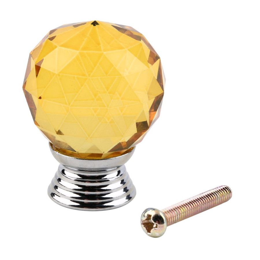 High quality 30mm Diamond Shape Crystal Glass Cabinet Knob Cupboard Drawer Pull Handle Home Furniture Hardware Kitchen 40mm diamond shape crystal glass door handle knob with screws for furniture drawer cabinet kitchen pull handle wardrobe