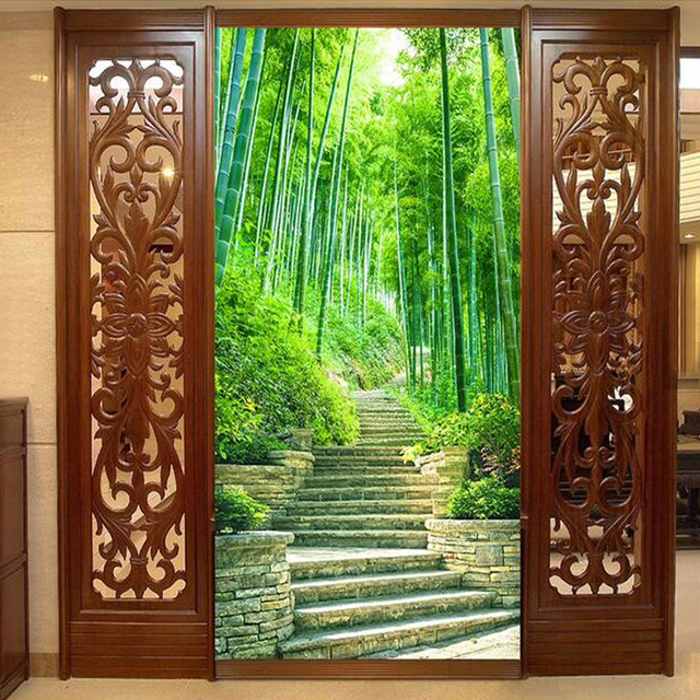 Custom 3d mural wallpaper green bamboo forest trail modern for Bamboo mural wallpaper