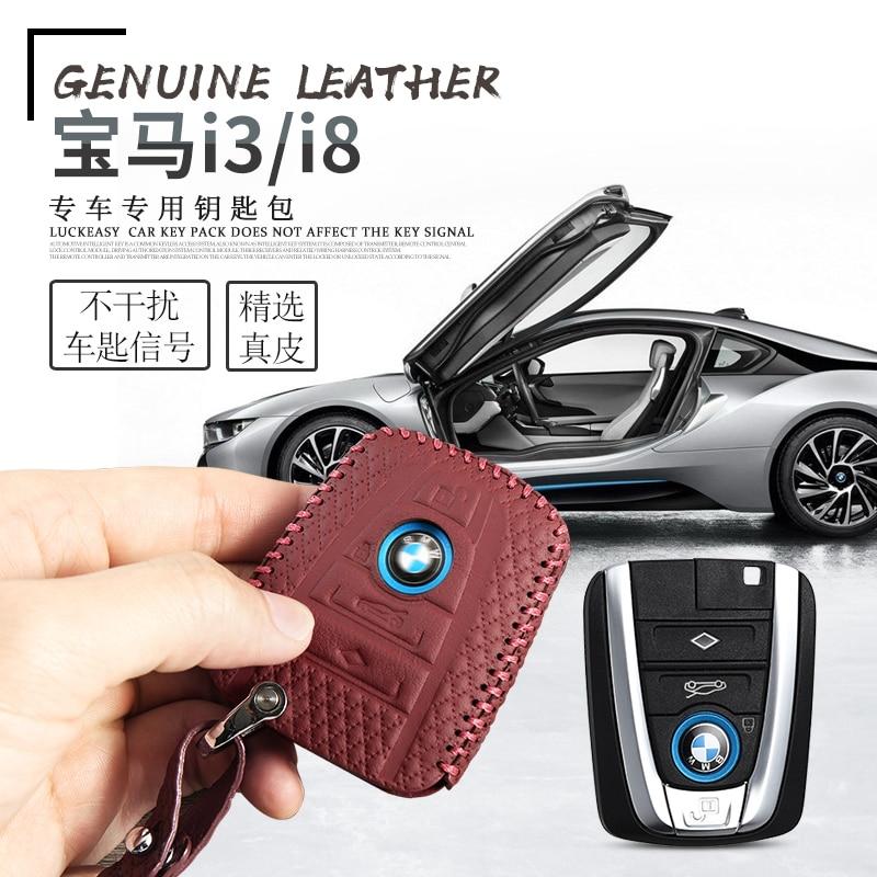 Nice Leather Key Cover For Bmw I3 I8 2014 2016 2018 Car Key Case Wallet Holder Key Holder Key4y Modern Techniques Interior Accessories Key Case For Car