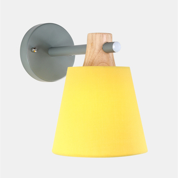 Creative Macaron fabric lampshade wall light Retro romantic Solid Wood E27 Wall Lamp For Restaurant living room aisle bedside