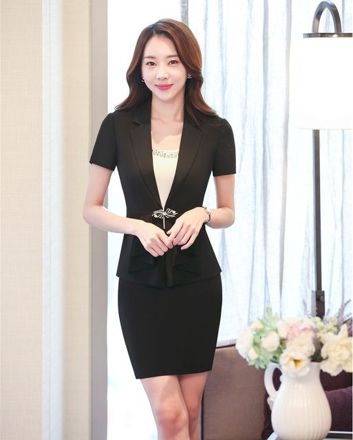 35cddb58dc Black Blazer Women Business Suits Formal Office Suits Work Wear Uniforms  Ladies Skirt and Jacket Sets OL Style